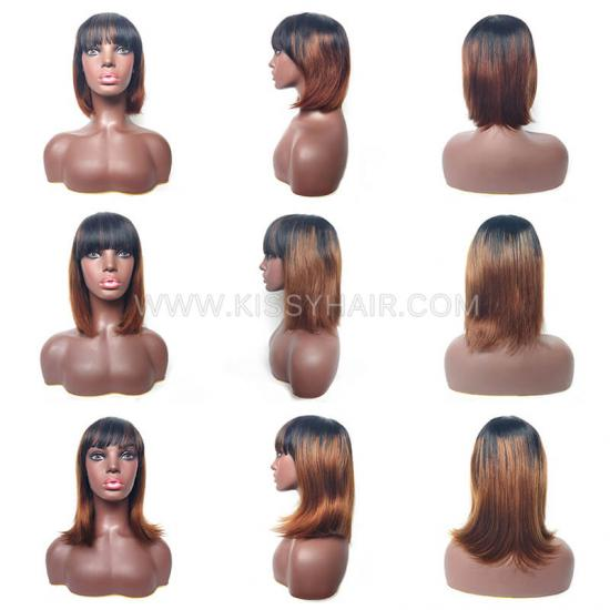 Affordable Human Hair Straight Bob Wig With Bangs Fringes Wholesale