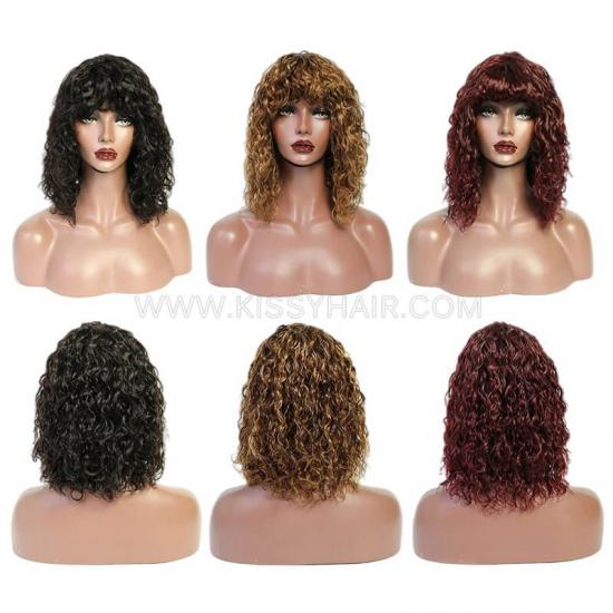 Affordable Human Hair Water Wave Bob Wig With Bangs Fringes Wholesale