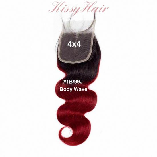 Affordable Virgin Remy Ombre Colored 4x4 Lace Closure Wholesale