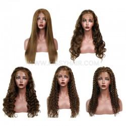 #4 Lace Front 150% Density Brown Color Wig Wholesale