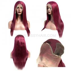 Burgundy Color Lace Front Wig 150% Density