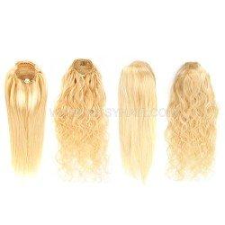 9A Blonde #613 Drawstring Ponytail Human Hair Extensions