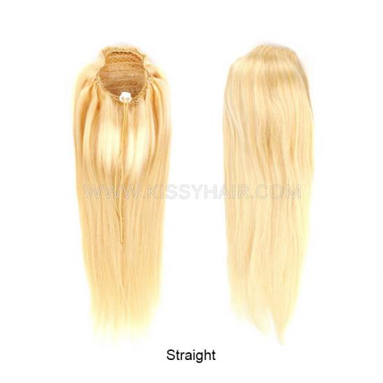 Blonde #613 Virgin Remy Drawing String Ponytail Human Hair Extensions Wholesale