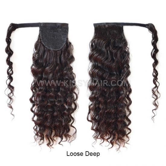 Virgin Remy Magic Paste Wrap Around Ponytail Human Hair Extensions Wholesale