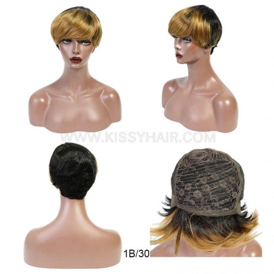 Machine Sewn Fringe Pixie Cut Straight Wig Wholesale