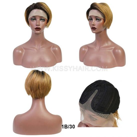 T-part Lace Human Hair Pixie Cut Straight Wig Wholesale