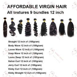 9 Bundles Sample Hair 12 Inches: Affordable Virgin Hair All Textures 12 inch, 9 Bundles
