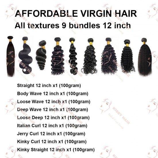 9 Bundles Sample Hair 12 Inches: Affordable Virgin Hair All Textures 12 inch, 9 Bundles